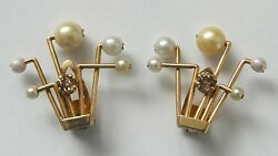 Antique Diamond And Pearl 18ct Gold Clip Earrings