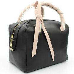 Blumarine Made in Italy designer luxury black leather small Bowler bag with bow
