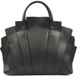 Blumarine designer luxury black leather Bugatti bag with plissé decor $859.00