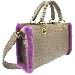 Blumarine Top Designer grey leather & purple fur Tote bag MAISON Collection $925.00