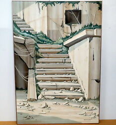 Original Robert Holman Charon Stairs Acrylic On Board 60 X 40 Nature Takes Over