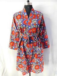 Gypsy Sexy Kimono Cotton Women's Sleepwear Gown Intimates Floral Beach Wraps 18