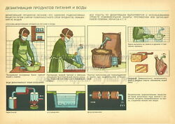 Soviet Russian Civil Defense Poster Print Nbc Food And Water Disinfection