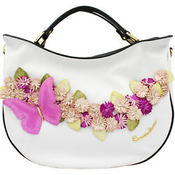 Braccialini Made in Italy designer luxury white leather bag flowers  $1,147.00