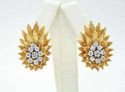 Vintage 18k Yellow Gold Diamonds Clip Earrings With Omega Backs. 27mm H 19mm W