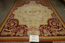8and039x10and039old Antique Splendid French Swirls Floral Aubusson Wool Rug Cream Dark Red