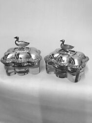 Pair Of Geo Iv Silver And Glass Boxes - London - 1829 By Joseph Angel