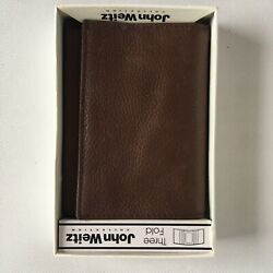 John Weitz Tri-Fold Wallet Brown Leather Brand New Three Fold Mens