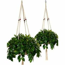 Plant Hanger Macrame Large 43in Pure Cotton Rope Red Wooden Beads Indoor Outdoor