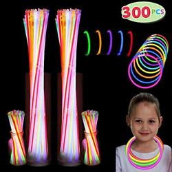 300 Pack Glow Sticks 100 22andrdquo Necklaces + 200 8andrdquo Bracelets Connector In