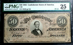 T-66 50 1864 Confederate Currency Csa Pmg 25 Very Fine Pf-16 Begisteb R13 Nc
