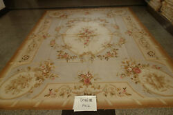 Vintage French Cottage Decor Floral Garland Hand Woven Muted Aubusson Rug