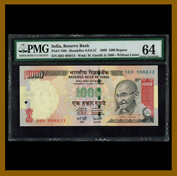 India 1000 1000 Rupees 2006 P-100c Without Letter Pmg 64 Unc