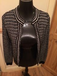 Top Shop Black And White Formal Cardigan With Gold Metallic Thread Size 8
