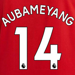 Aubameyang 14 19/20 Premier League Arsenal Home White Name And Number Set = Adults