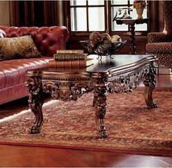 Majestic Lions Head Paws Hand Carved Solid Mahogany Antique Replica Coffee Table