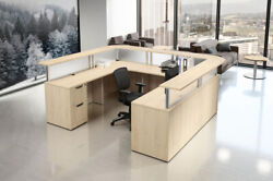 U Shaped Reception Desk With Drawers In Gray Walnut Maple Espresso And 7 Colors