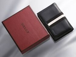 H6885M Authentic BALLY Webbing Genuine Leather Business & Credit Card Case