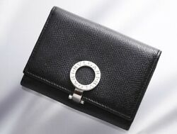H6882M Authentic BVLGARI Ring Clip Genuine Leather Business & Credit Card Case
