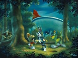 Hare-y Situation Bugs And Marvin The Martian Cel Related, Hand Signed Rob Kaz