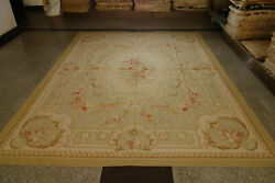 Antique French Country Castle Red Roses Floral Camel Aubusson Wool Rug Handmade