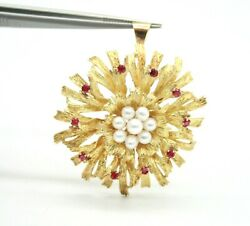 by HL VINTAGE 18K YELLOW GOLD FLOWER PENDANT WITH PEARLS & RUBIES