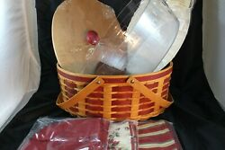 Longaberger 2007 Holiday Hostess Hh Red Goodies Basket Combo With Lid And 2 Liners