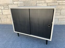 Mid Century Modern Paul Mccobb Style Sliding Door Bookcase Cabinet Console