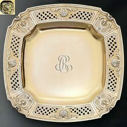 Antique French Sterling Silver Gold Vermeil Compote Footed Tray Serving Plate 4