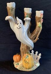 Fitz And Floyd Halloween Harvest Ghost Candle Holder Candelabra W/box 1995