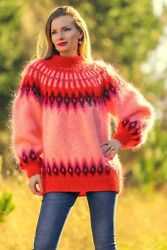 Pink Icelandic Sweater Red Nordic Pullover Thick Hand Knitted Jumper Supertanya