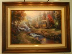 Thomas Kinkade Mountain Paradise 24 X 36 S/n And Autographed Light Included