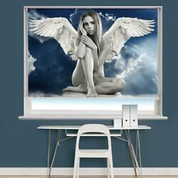 Girl With Angel Wings Fantasy Printed Picture Photo Roller Blind Blackout Remote