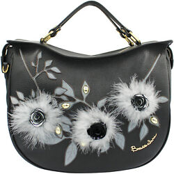 Braccialini designer black leather Hobo bag with flowers & feather applique NEW $807.00
