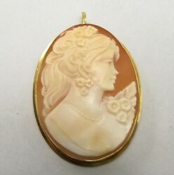 Vtg 18k Gold Carved Shell Cameo Pendant Pin Brooch Signed Di Conno Italy Large