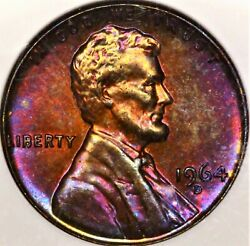 Purple Pink Toned 1964 D 1c Ngc Ms64 Rb Lincoln Wheat Cent Pq Color Red Reverse
