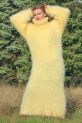 Yellow Long Mohair Sweater Dress Fuzzy Turtleneck Warm Soft Gown By Supertanya