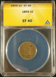 1859 Indian Head Cent Anacs Ef40 Exquisite Coin Rare