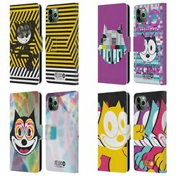 Official Felix The Cat Colourful Leather Book Case For Apple Iphone Phones