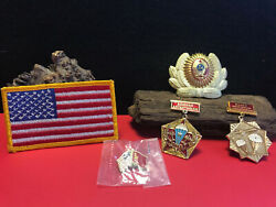 Military Pins U.s. And Foreign Awards Parachute Medal Pin Hat Lot