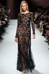Nina Ricci Fall 2014 Runway Black Open Back Embroidered Gown with Side Slit FR38
