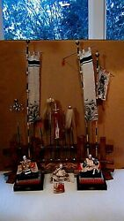 Antique 19c Japanese Unique Set Of 3 Samurai Dolls On Stand W/9 Flags And Banners