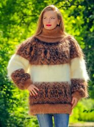 Brown Mohair Sweater Icelandic Fuzzy Nordic Designer Thick Jumper By Supertanya