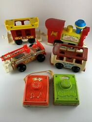 Mixed Lot Of Vintage Fisher-price Toys Radio Train Fire Truck Mini Bus