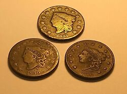 Three Large Cents - Matron Head - 1830, 1831 And 1835 - 3 Coins