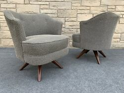 Pair of Mid Century Modern Dean Modernize Inc. Walnut Swivel Side Chairs