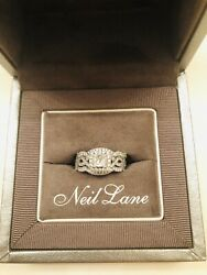 14k White Gold Princess Cut Diamond With Halo And Two Diamond Bands
