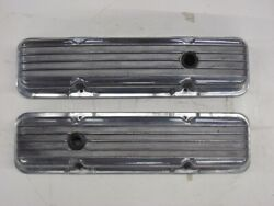 Chevy 327 350 Polished Finned Aluminum Valve Covers Rat Rod Pair Small Block