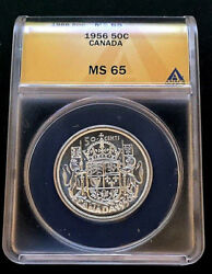 1956 50andcent Canada Fifty Cents Anacs Ms 65 Queen Elizabeth Ii