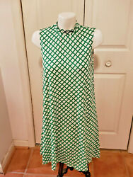 Charming Charlies Women's Large Green And White Turtleneck Short Sleeve Dress